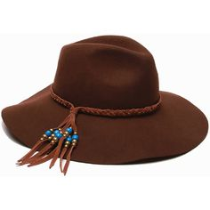 Ale by Alessandra Gaucho Suede-Trim Beaded Hat ($95) ❤ liked on Polyvore featuring accessories, hats, brown, wide brim hat, wide brim floppy hat, gaucho hat, wide hat and pattern hats