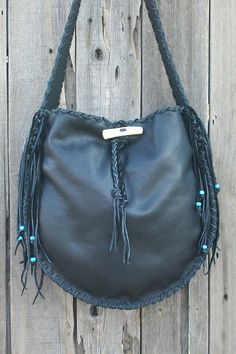 Leather handbag tote  Black leather fringed tote  by thunderrose, $242.00