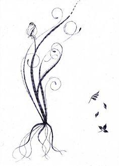 végétal, racine, rose -début tatouage- tattoo