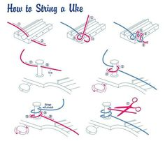 How to String an #Ukulele. It's not always easy to figure out how it goes, so this nifty graphic will show you the proper way to string your #uke. www.Ukes.com  Love your #ukelele!