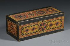 Polychrome-painted Carved Pine Box, America, 19th century, rectangular box, with hinged lid decorated with relief-carved rosettes, and geometric designs and borders, in shades of mustard, red, and black with black borders, ht. 6 1/2, wd. 8 1/4, lg. 17 in.
