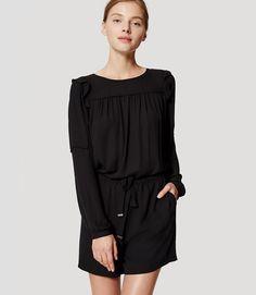 8cfadf9454d LOFT Shoulder Ruffle Romper Discount Womens Clothing