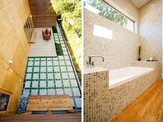 outdoor pavers and bathroom.