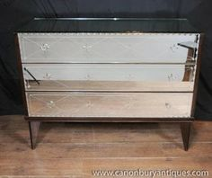 Antique Mirrored Art Deco Chest Drawers Commode Glass 1930s Furniture