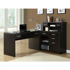 "Hollow-Core L Shaped Home Office Desk (Cappuccino) (30.75""H x 47.25""W x 23.75""D) by Monarch Specialties. $450.00. Color: Cappuccino. Size: 30.75""H x 47.25""W x 23.75""D. The spacious Hollow-Core L Shaped Home Office Desk by Monarch Specialties gives you two work surfaces with room for a computer or laptop as well as a writing and reading space.  The shape of this office desk allows for placement in the corner or protruding from the wall.  There are six drawers including ..."
