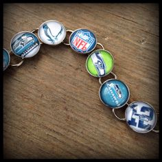 Seattle Seahawks Handmade Link Bracelet Silver by finderskeepers75, $25.00
