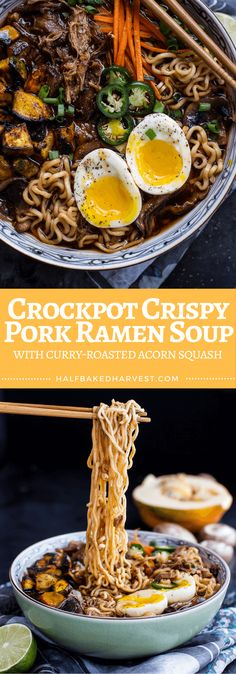 Crockpot Crispy Pork Ramen Soup | halfbakedharvest.com @hbharvest