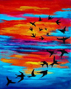 Birds in Flight Costa Rica Sunset // Print on by lydiabeechart, $20.00