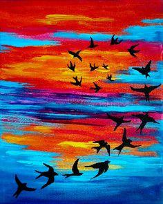 Birds in Flight Costa Rica Sunset // Print on by lydiabeechart, $20.00