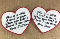 SET of 2 - SEW ON Memory Pillow Patches - Heart Shaped Memorial Patches, This is a shirt I used to wear, Shirt Pillow Patches, Memory Patch #memorypatches #thisisashirt #memoryshirtpillows