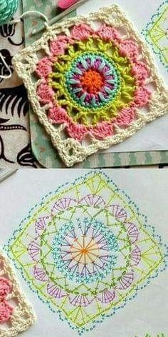 67 Ideas crochet granny square pattern ideas colour for 2019 Crochet Mandala Pattern, Crochet Beanie Pattern, Crochet Motifs, Granny Square Crochet Pattern, Crochet Blocks, Crochet Diagram, Afghan Crochet Patterns, Crochet Squares, Crochet Chart