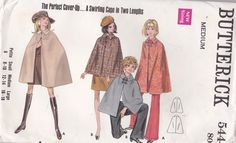 Sewing Pattern - Butterick 5444 Cape in four lengths Size MEDIUM Uncut, Factory Folded by jennylouvintage on Etsy