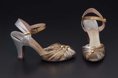 Uppers of silvered and gilded leather bands in two braids (vamps) and forming ankle straps with yellow stone gilt buckles. 1940s Shoes, Evening Sandals, Ankle Straps, Pairs, Leather, America, Fashion, Moda, Fashion Styles