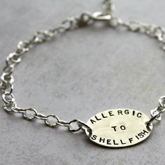 Medical Alert Allergy Bracelet from Amy Cornwell. Mine says TAKING BLOOD THINNERS. Feminine, delicate, easy to read. Love this.