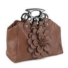 Minerva Collection Top Handled Flower Tote Handbag Brown  Price : £30.00 http://www.minervacollection.com/Minerva-Collection-Handled-Flower-Handbag/dp/B009Y8WRAK