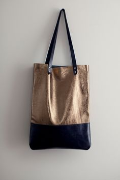 Brass Metallic with Navy Blue Leather Tote bag