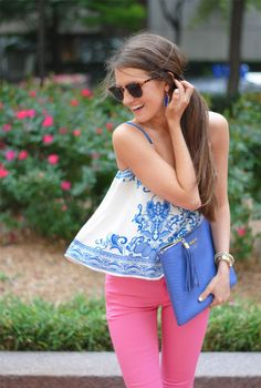 blue paisley top + pink skinnies
