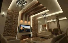Stone walls and columns... coved ceilings with wood panels.