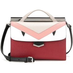 Fendi Demi Jour Small Leather Shoulder Bag ($2,075) ❤ liked on Polyvore featuring bags, handbags, shoulder bags, multicoloured, red leather shoulder bag, real leather handbags, leather purse, red leather handbag and genuine leather purse