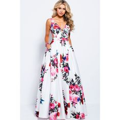 Jovani - V-neck Side Cutouts Floral A-line Gown – Couture Candy Fall Dresses, Pretty Dresses, Formal Dresses, Prom Dresses Jovani, Bridesmaid Dresses, Pageant Dresses, Sexy Gown, A Line Gown, The Dress