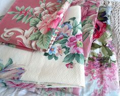 Vintage pink barkcloth.....major weakness. Have some that was my grandmother's