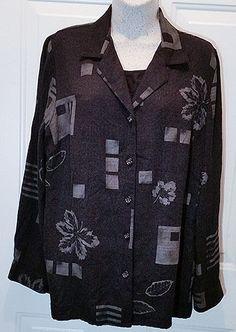 Womens Sag Harbor Sz 16 LSleeve Top Blouse Layered Look Black Print WT39…