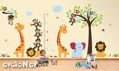 Wall Decals Wall Sticker Nursery Decal  - Monkeys, Giraffes and Lions - Wall Decals Growth Chart - PLSF070