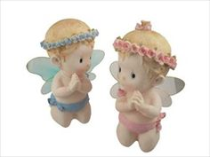 """8.5"""" Poly Resin Angel Figurine w/ Sheer Wings. Available for boy and girl. Only $4.00 each piece."""