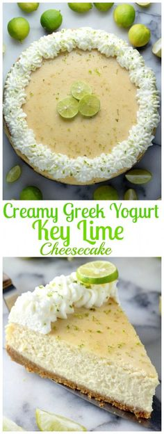 Creamy Greek Yogurt Key Lime Cheesecake - Bakes up perfect every time! All the tips and tricks needed to create creamy, crack-free cheesecake at home!