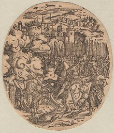 1550 - 1600 Jost Amman - Knights besieging a walled town. Copyright - Anne S.K. Brown Military Collection at Brown University.