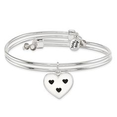 Silver-Tone Trinky Things Black/White Heart Bridesmaid Bracelet/Card