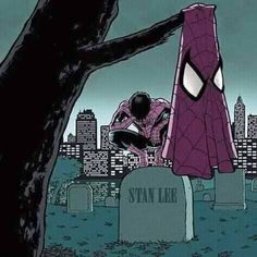 Rest in Peace Stan Lee. Spiderman mourns the death of Stan Lee. Marvel Dc Comics, Marvel Avengers, Ms Marvel, Marvel Girls, Marvel Memes, Marvel Actors, Comic Anime, Comic Art, Comic Books