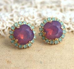 Green mint and violet purple Opal Rhinestone stud earring jewelry - 14k 1 micron Thick plated gold earrings real swarovski rhinestones.