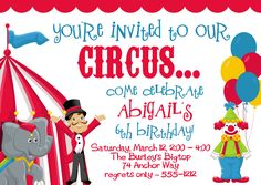 circus birthday invitations with photo - Birthday Party Invitations Templates Create Birthday Invitations, Carnival Birthday Invitations, Birthday Party Invitation Wording, Free Birthday Invitation Templates, Retirement Party Invitations, Carnival Birthday Parties, Birthday Template, Invitation Ideas, Ring Master