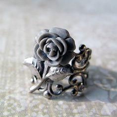 Gray Rose Ring Adjustable Filigree Band Antiqued by jFrancesDesign