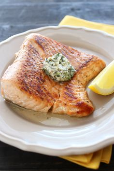Salmon with Lemon Herb Butter Recipe from handletheheat.com
