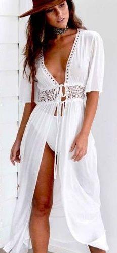 60e8d685fd24d Women Summer Lace Crochet Bikini Cover Up Swimwear Bathing Suit Beach Dress  Tops