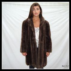 vintage 1970s faux  mink fur coat, brown mink, fur coat, plush, mink, made in USA, size LG by BornToShopVintage on Etsy