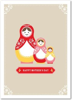 Sweet Dolls - Mother's Day Greeting Cards - Pinkerton Design - Khaki - Neutral : Front