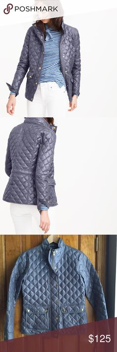 "30% OFF J. Crew Shiny Downtown Field Puffer Jacket PRODUCT DETAILS The perfect ""it's chilly but not quite freezing yet"" layer. Inspired by the silhouette of our waxed cotton downtown field jacket, this quilted version is super-classic, filled with down and just as versatile as the original.  Down-filled poly. Standing collar. Hidden zip with snap closure. Pockets. Machine wash. J. Crew Jackets & Coats Puffers"