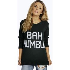 Boohoo Zoe Bah Humbug Christmas Jumper ($26) ❤ liked on Polyvore featuring tops, sweaters, bottle green, sequin christmas sweater, green turtleneck, christmas jumper, turtle neck sweater and christmas sweater