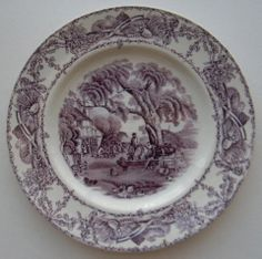Nancy's Daily Dish English Country Decorating Decorate with Transferware Vintage China Hanging Plates Vintage Toile Dishes Antiques Staffordshire Interior Decor Old Plates, Vintage Plates, Vintage Dishes, Purple Pages, Purple Kitchen, Cranberry Color, All Things Purple, Antique China, Bone China