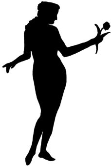 Silhouette Lady with Flower