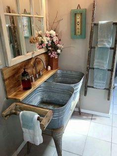 kreatives badezimmer - hölzernen waschtisch diy modell und spiegel