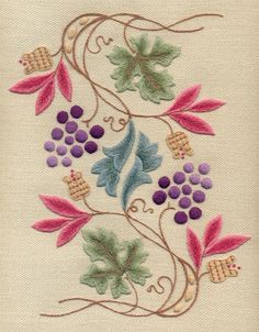 Beauty Japanese Embroidery Crewel Kit Grapevine And Pippins Crewel Embroidery Kit - Bordado Jacobean, Crewel Embroidery Kits, Learn Embroidery, Japanese Embroidery, Embroidery Needles, Embroidery Patterns, Embroidery Supplies, Embroidery Books, Flower Embroidery