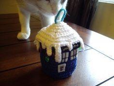 Christmas Tree TARDIS and other free Crochet Christmas Ornament Patterns at mooglyblog.com!