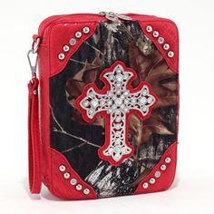 Red & Camo Rhinestone Cross Western Bible Cover