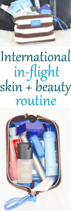 How to keep your skin happy and healthy on those long international flights. A routine for keeping your face clean and moisturized as well as a few tips for not looking so tired and worn out. In-flight skin care + beauty tips. #EyelinerTricks