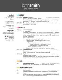 Two Column One Page CvResume Template  Office    Cv