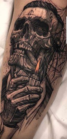 o olhar. Skull Tattoos, Body Art Tattoos, New Tattoos, Sleeve Tattoos, Tattoos For Guys, Totenkopf Tattoos, Hals Tattoo Mann, Tattoo Hals, Incredible Tattoos